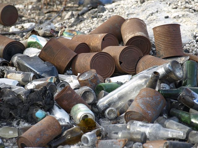 garbage, cans and bottles