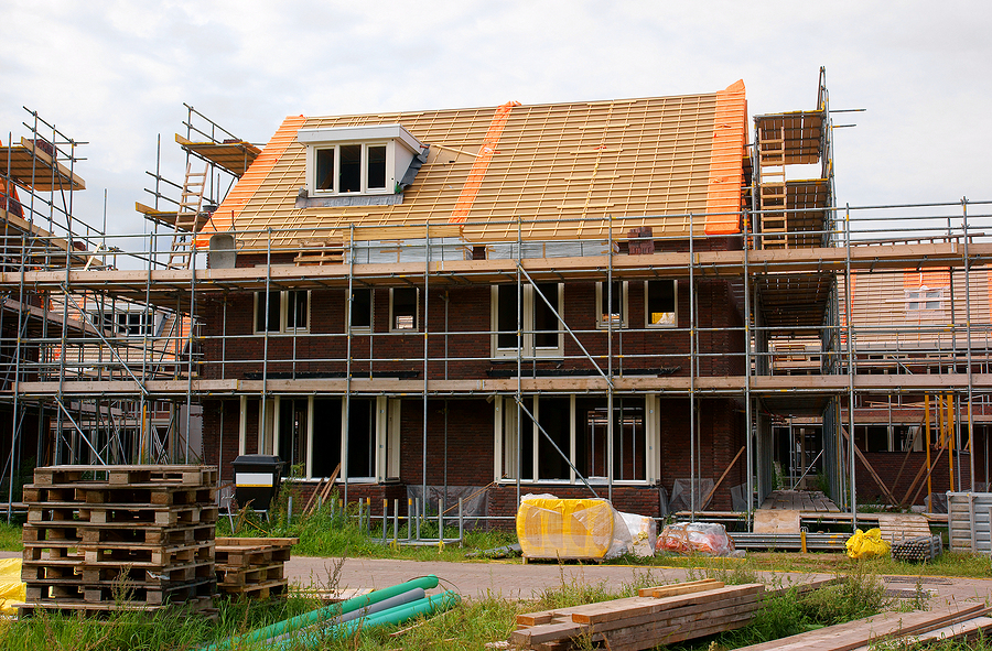Scaffolding in a home construction