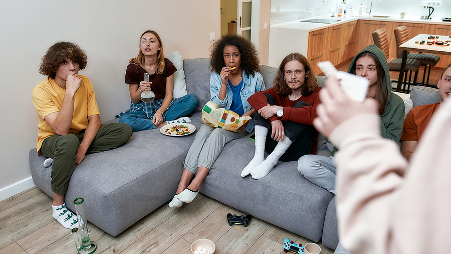 Group of teenagers using bongs