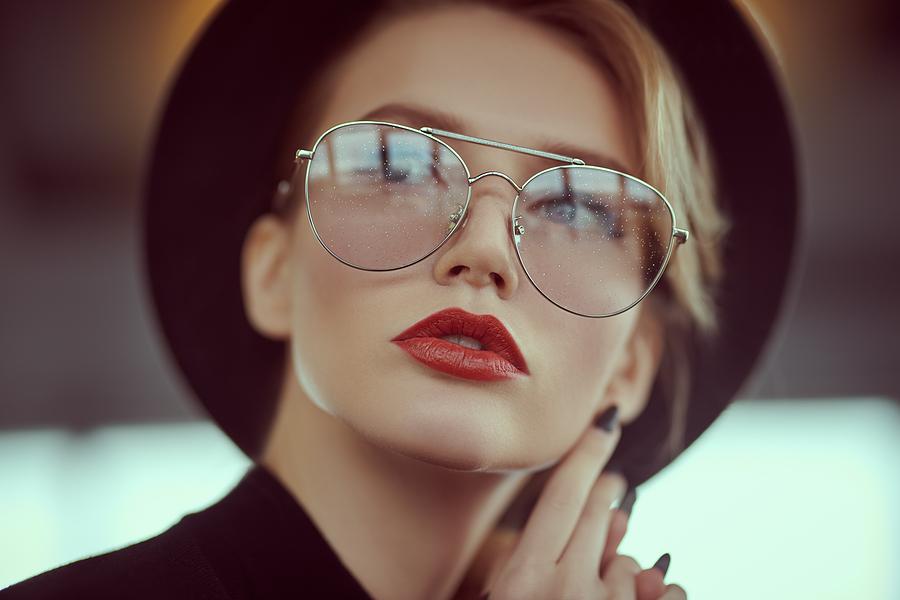 Woman wearing DITA Sydney eyewear