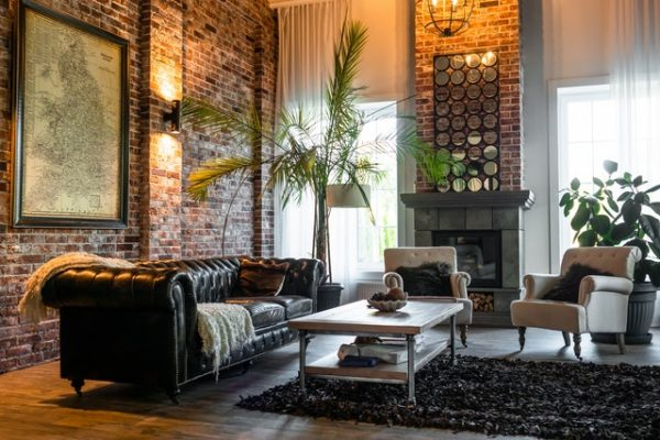 Living area with leather lounges in Melbourne